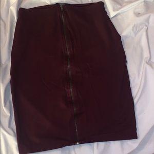 Burgundy Zip Front Skirt
